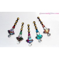 Black Crystal Diamante Jewelled Bindis with white & multicolored crystals CB102