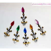 Black Velvet Crystal Diamante Jewelled Bindis with white & colored flame crystals CB106