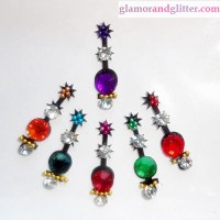 Black Velvet Crystal Diamante Jewelled Bindis with white & colored crystals CB108