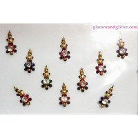 Black Velvet Crystal Diamante Jewelled Bindis with white crystals gold beads CB116