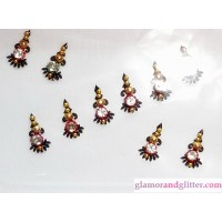 Bindis black background crystals jewels gold beads SCA LOTR CB117