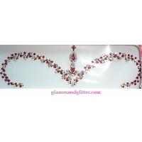 White Garnet Crystals Hearts Bridal Bindis Jewelled Set BB106