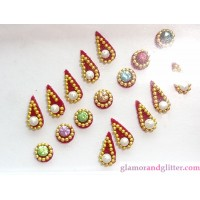 Bindis Flame Round Crystals Pearls Beads Body Art Jewelry CB120