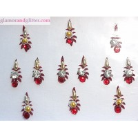 Dark Burgundy Bindis with white crystals red crystals gold beads CB128