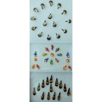 3 Sets of Bindis Body  Jewelry doll jewellery with pearls jewels - 46 Bindis total