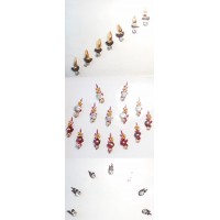 3 Sets of Bindis Body Jewelry in Red Gold Black with crystals, diamante, jewels - 28 Bindis total