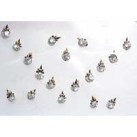 Black Silver Jewelled Bindis with Crystals CB101