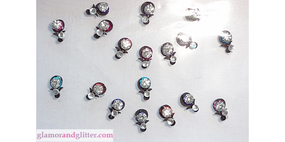 Small Black Crystal Bindis with Colored Metallic accents Body ...