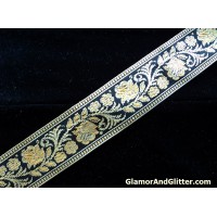 "1 1/2"" Black Antique Gold Metallic Floral Jacquard Trim Lace Ribbon Home Decor LOTR SCA Renaissance LARP TJ120"