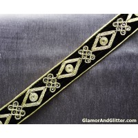 "1 3/8"" Black Velvet Trim Ribbon with gold hand embroidery Vestments Regal Military Renaissance LOTR Evening wear VT102"
