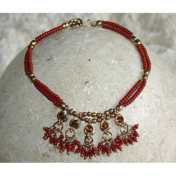 Brick Red Beads Charms Amber Crystals Beaded Bracelet Belly Dancing BL103