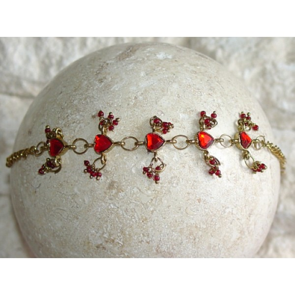 Ruby Red Heart Crystals Beads Charms Chain Bracelet Belly Dancing BL102