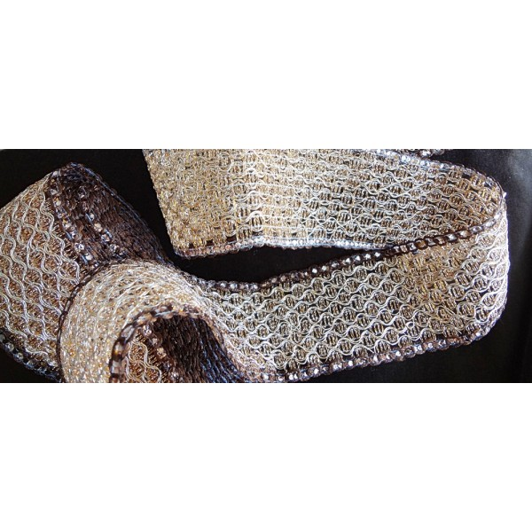 "2 1/8"" Metallic Champagne Braided Bridal Mesh Sequins Wedding Trim Lace SCA Renaissance"