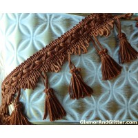 "3"" Copper Brown Tassel Fringe Trim Braided Loops Home Decor Curtains Pillows Lampshade SCA Renaissance LOTR Costumes TT101"