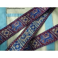 "1 1/2"" Elephant Houdah Flowers Blue White Burgundy Jacquard Embroidered Ribbon Trim Lace Bohemian chic  TJ109"