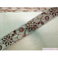 "1"" Champagne Copper Jacquard Floral Bridal Wedding Trim Lace Ribbon SCA Renaissance BT108"