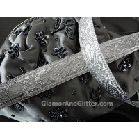 "3/4"" Bridal Silver Trim Metallic Jacquard Ribbon Diamonds Paisley   BT112"