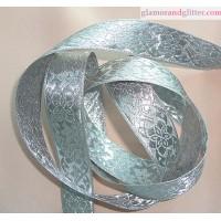 """7/8"""" Silver on Silver Bridal Jacquard Floral Trim  LOTR SCA Renaissance BT111"""