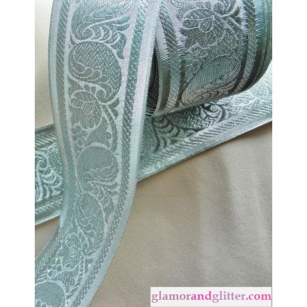"2 1/8"" Wide Silver on Silver Bridal Jacquard Trim Paisley Floral Scrolls LOTR SCA Renaissance BT110"