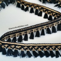 "1"" Black Gold Tassel Fringe Trim Braided Loops Home Decor Curtains Pillows Lampshade Dance Costumes TT102"