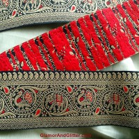 "2 7/8"" Wide Brocade Jacquard Embroidered Trim Black Gold Red Elephants Peacocks Lace SCA Renaissance Bohemian Regal Royal TJ123"