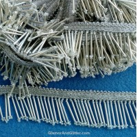 "Silver Beaded Fringe Tassel Trim 1 3/8"" (38mm) Salsa BellyDance Flapper Costume Home Decor Curtains Cushions Lampshade FT105"
