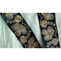 "Black Metallic Gold Hand Embroidered Zardozi Trim 2 3/8"" Wide  Ribbon Lace Sari Border Vestments Regal Military Renaissance LOTR Evening wear ZT103"