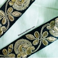 "1 1/2"" Black Metallic Gold Hand Embroidered Zardozi Trim Ribbon Lace Vestments Regal Military Renaissance LOTR Evening wear ZT102"