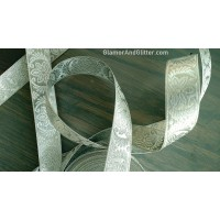 "7/8"" Metallic Silver Jacquard Embroidered Bridal Trim Lace Ribbon Sari Border LOTR Renaissance SCA BT118"