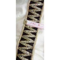 "ZIGZAG 2 1/8"" Wide Black Gold Trim Lace Embroidered Velvet Military Vestment LARP Upholstery Home Decor Sewing Crafts Sari Border VT105"