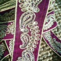 "Hand Embroidered 1 7/8"" Violet Gold Velvet Trim Lace Ribbon Sari Border Sequins Military Vestment Renaissance Costumes Sewing VT106"