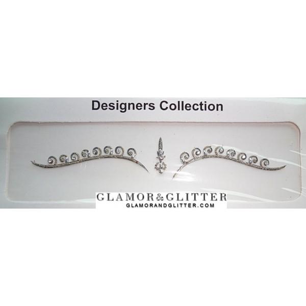 Metallic Silver Bridal Bindis Set with Crystals BB104