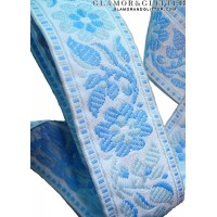 "1 1/2"" Wide Jacquard Embroidered Ribbon Trim Lace Blue Flowers Medieval TJ106"