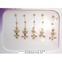 Long Gold Metallic Bridal Tikka Jewelled Bindis Body Art Temporary Tattoos Stickers LB104