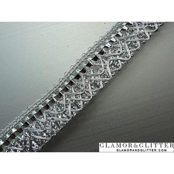 """3/4"""" Metallic Silver Bridal Trim Lace SCA Renaissance TS103"""