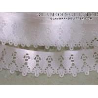 """1.5 yds 1.5"""" Wide White Bridal Hearts Diamonds Scallop Lace Trim Veil  TW104"""