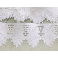 """1 5/8"""" Wide White Bridal Flowers Leaves Scalloped Edge Lace Trim Veil  TW105"""