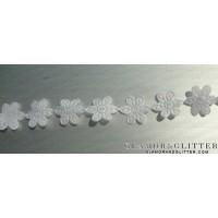 2.5 yards Flowers Daisy White Bridal Lace Trim Veil Wedding accessories TW101