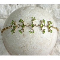 Gold-tone Green Crystals Beads Charms Chain Bracelet Belly Dancing BL101