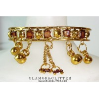 Antique Gold tone dangling Charms Chains Amber Crystals Bangle Bracelet Gypsy Belly Dancing BL106