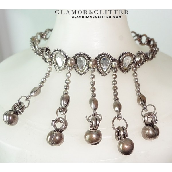 Antique Silver tone dangling Charms Chains White Crystals Bangle Bracelet Gypsy Belly Dancing BL107