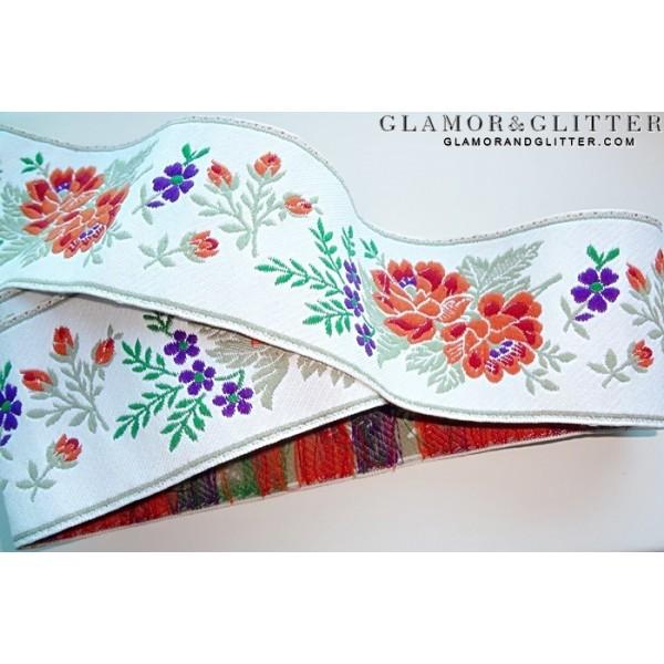 """2 1/4"""" Wide Jacquard Embroidered Trim Lace Ribbon European Flowers SCA Renaissance TJ104"""
