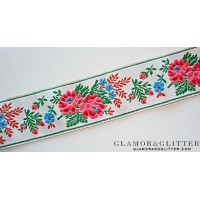 "1 1/2"" Wide Jacquard Embroidered Ribbon Trim Lace European Flowers Medieval TJ105"