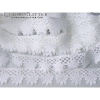 """1"""" White Bridal Flowers Scalloped Edge Embossed Lace Trim TW107"""