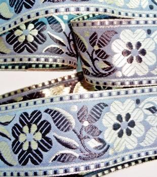 Embroidered Metallic Jacquard Trim