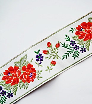 Floral Embroidered Jacquard Trim